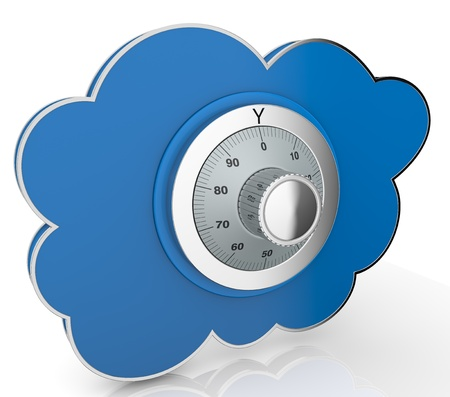 13936478 - one cloud with a safe lock (3d render)